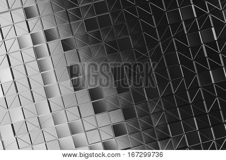 Wall Of Brushed Metal Tiles With Diagonal Glowing Elements