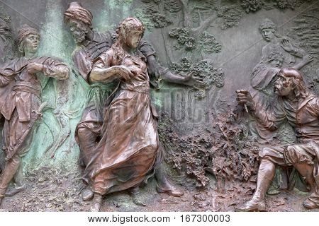 DUBROVNIK, CROATIA - DECEMBER 01: Relief on a monument of Ivan Gundulic in Dubrovnik. Scene from the ninth canto where Suncanica is taken to the Sultan's harem  in Dubrovnik on December 01, 2015.