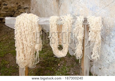 A Traditional wool dyeing in the house