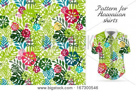 Seamless tropical floral background. Vector Hawaiian exotic flowers pattern on shirt mockup. Bright colors backdrop.