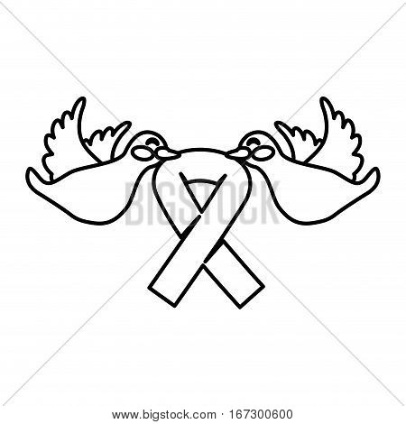 figure doves with breast cancer symbol in the beak icon design image