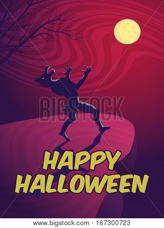 Halloween card with a werewolf. Vector illustration.