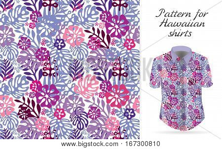 Tropical aloha pattern. Vector Hawaiian exotic flowers pattern on shirt mockup. Vector plants and flowers seamless background. Pink violet lilac color tropical florals.