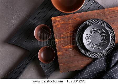 Set of kitchenware on grey background