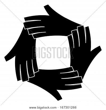black hands together feminism related, vector illustration image
