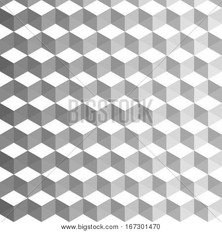 Abstract cubic background. Geometric decoration with blended colors grey and white. Creative design templates. Vector illustration