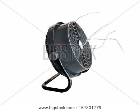 Closeup the electric fan isolated on white background.