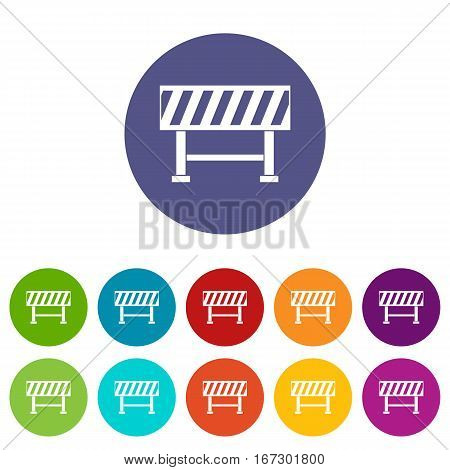 Traffic barrier set icons in different colors isolated on white background