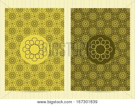 5X7 Inch Size Cards With Logo In Green Color. Vector Luxury Templates For Restaurant Menu, Flyer, Gr