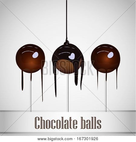 Chocolate poured on Chocolate ball - vector design