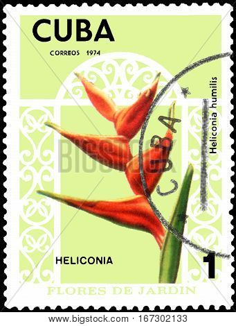 CUBA - CIRCA 1974: Postage stamp printed in Cuba shows the flower Heliconia humilis, series garden flowers