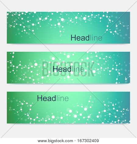 Scientific set of modern vector banners. DNA molecule structure with connected lines and dots. Science vector background. Medical, tecnology, chemistry design