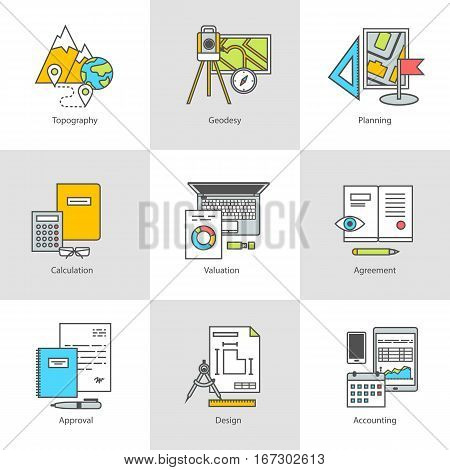 Flat line conceptual stages set icons, objects and tools. Geodesy, preparation, construction and engineering. Modern flat linear concept of the icon, symbol set for websites and applications, vector