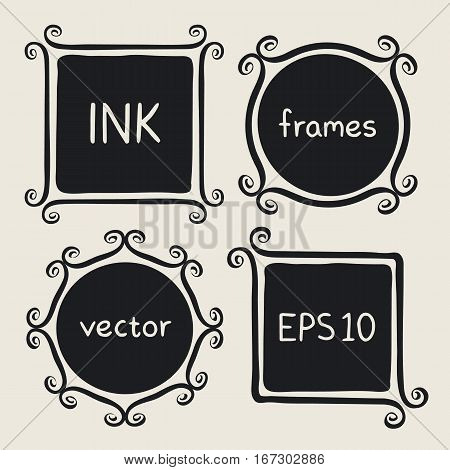 Frames with whimsical swashes. Elements for baby shower wedding invitations scrapbook. Cute hand made set painted with ink brush. Hand drawn doodle picture frames. Doodle vector illustration