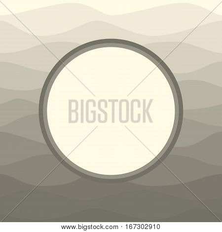 Round label on ombre beige grey background. Circle on pink backdrop. Wedding invitation birthday card baby shower announcement template. Blank mock up. Vector illustration.
