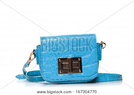 Elegant Turqoise Leather Woman's Handbag Isolated On White Background,crocodile Bag Leather,blue Wom