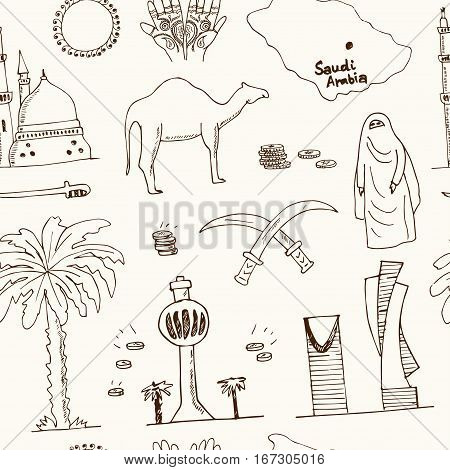 Handdrawn seamless pattern Saudi Arabia Landmarks and icons with country English and Arabic Modern concept doodle sketch vector illustration