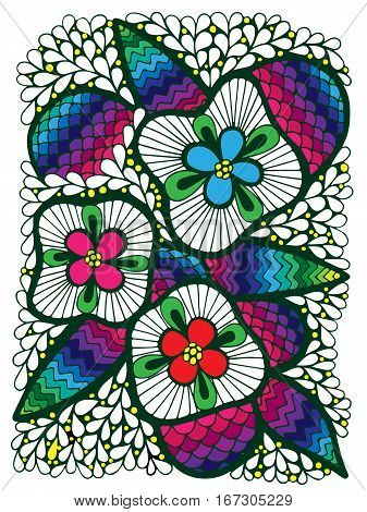 Abstract colorful flower with leaves for adult or child coloring book and pages. Mono color black line art element for design cover.