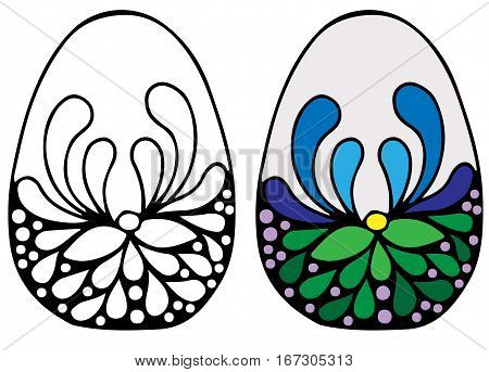 Colorful Easter egg with flower for coloring book for adult and design elements. Can be used for card invitation posters texture backgrounds placards banners.