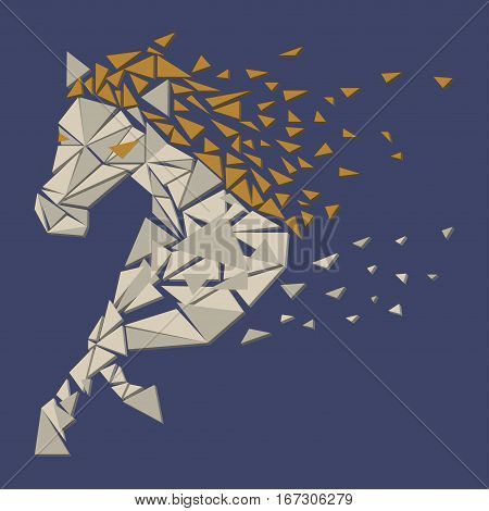 Horse particles icon design. Galloping  - vector illustration