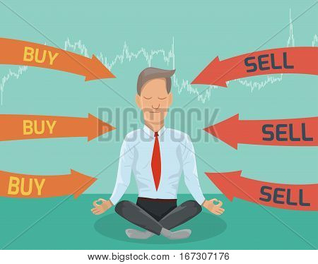 Buy or sell? Businessman meditating on the financing decision.