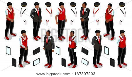 Isometric man male receptionist person hotel reception isolated infographic element. 3D Isometric person icon set. Creative design vector illustration collection