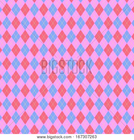 Argyle pattern in pink color scheme. Sweater texture, vector art illustration