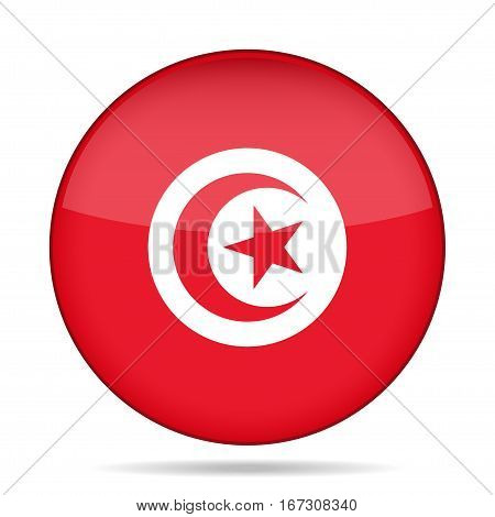 National flag of Tunisia. Shiny round button with shadow.