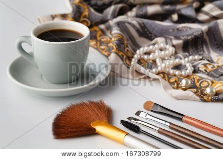 Cosmetic Brush Lay On Table Ready To Apply
