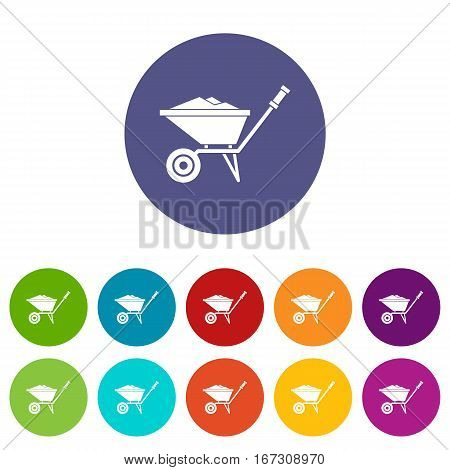 Wheelbarrow set icons in different colors isolated on white background