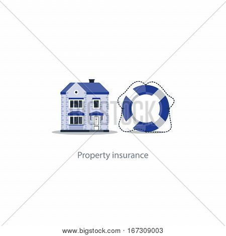 House insurance concept, home protection, real estate guard, property security icon, safe living, vector illustration