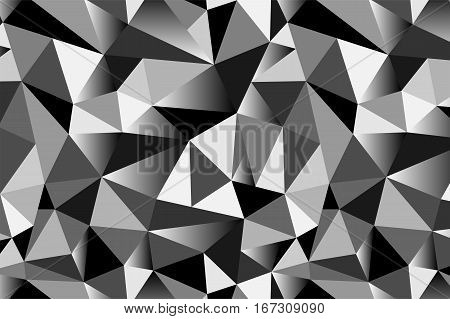 Abstract Grey Geometric Triangular Seamless Low Poly Style Background. Vector Illustration