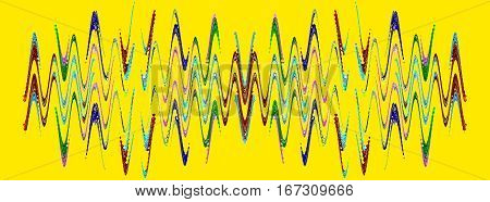 Multicolored abstract waveform pattern on yellow background.Digitally generated image.