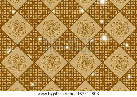Golden Seamless Chess Styled Vintage Texture With Clove Flowers And Shining Rounds. Vector Illustrat