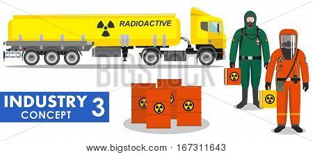 Detailed illustration of cistern truck carrying chemical, radioactive, toxic, hazardous substances and workers in protective suit on white background in flat style.