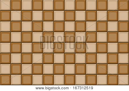 Cartoon Hand Drown Beige And Brown Seamless Tiles Texture. Vector Illustration