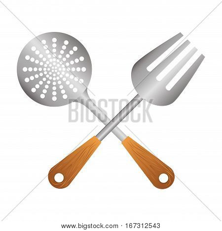 silver skimmer with big fork tools, vector illustration