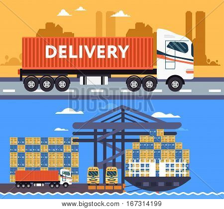 Cool Delivery Service Concept Background.