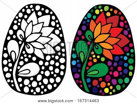 Easter egg with colorful flower for coloring book for adult and design elements. Can be used for card invitation posters texture backgrounds placards banners.