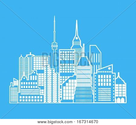 Modern City View. Cityscape with office and residental buildings, television tower. vector illustration in flat style