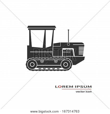 Crawler tractor icon isolated on background. Vector illustration.