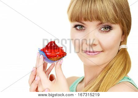 Woman Holds Cake Strawberry Cupcake