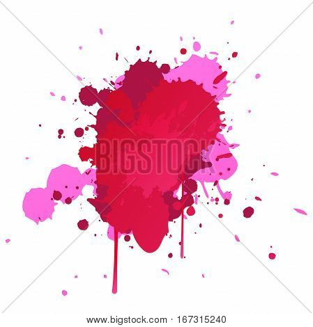 Vector. pink watercolor blots isolated on white background. Watercolor blot for your design. Summer vector. Bright design