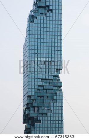 BANGKOK, Thailand - January 29, 2017: View of the Bangkok Skyline with MahaNakhon Thailand's tallest building.