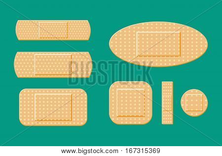 set of aid medical plaster in various sizes. Vector illustration in flat style