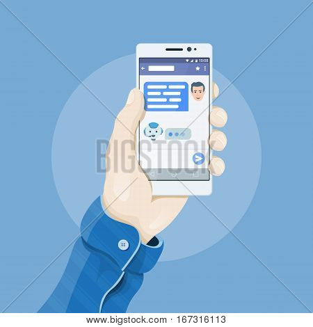 Hand holding smartphone with chatting bot application on the screen. Chatbot concept. Man's hand holding a phone concept. Dialogue on the smartphone screen. Mobile app vector illustration.