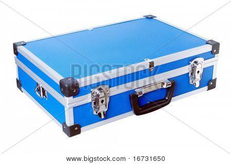 Blue aluminic case isolated on white background.