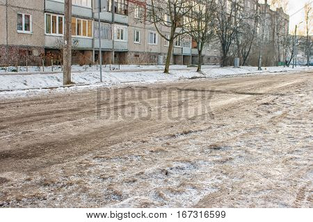 road covered with ice in new residential area