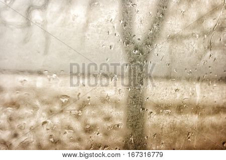 raindrops on window glass on gloomy winter day
