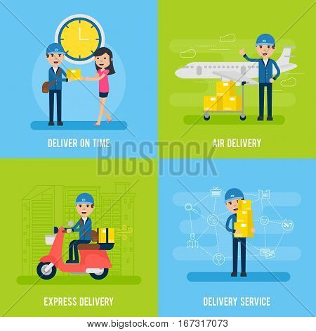 Global logistic flat concept with mailman customer and different types of delivery service vector illustration